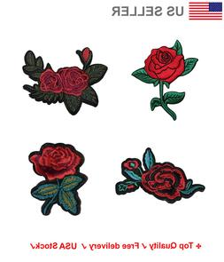 Floral Embroidered Iron On Sew On Patches Rose Applique flow