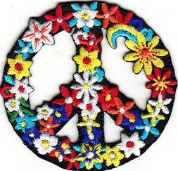 FLOWER PEACE SIGN Iron On Patch Love Peace Biker Woodstock L