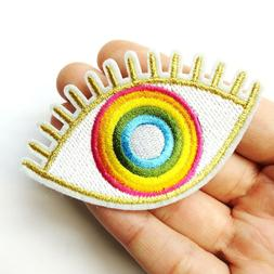 Gold & Rainbow Evil Eye Hamsa, Colorful Patch Iron-On/Sew-On