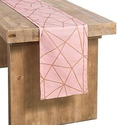 ling's moment Gold Geometric Pattern Pink Cotton Table Runne