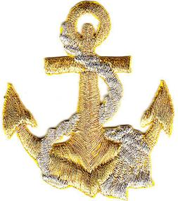 GOLD ANCHOR Iron On Patch  Nautical Ocean