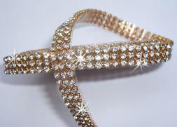 5 x Strip Diamonte 3mm Chaton Ribbon Clear Silver Iron-On Crystal Diamante Reel