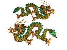 golden green Chinese dragon pair iron on embroidered patch s