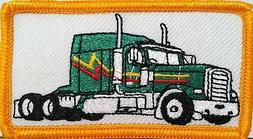GREEN TRUCK Color  Iron-On Patch Truck Driver Emblem Gold  B