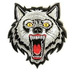 Grey Wolf Patch Embroidered Iron On Sew On Biker Skater Were
