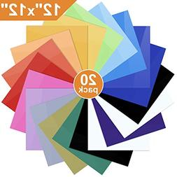 """Heat Transfer Vinyl for T-Shirts, 20 Pack - 12""""x 12"""" Sheets"""