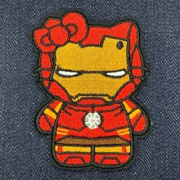 """HELLO KITTY AS IRON MAN EMBROIDERED IRON ON PATCH 2.5"""" x 3"""""""