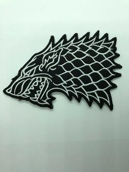"""House Stark Direwolf Wolf PATCH - 5"""" Embroidered Iron-On - G"""