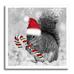 3dRose ht_150177_2 Christmas Squirrel, Candy Cane, Santa Hat
