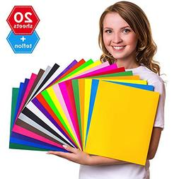 HTV Heat Transfer Vinyl Bundle 12x10 - 20 Multi-Color Sheets