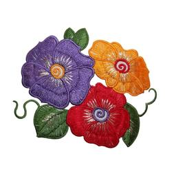 ID 6834 Multi Color Hibiscus Flower Patch Tropical Embroider