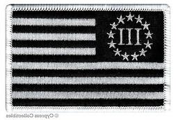 III PERCENTER BLACK FLAG PATCH embroidered iron-on 2nd AMEND
