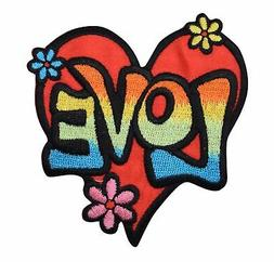 Love Heart - Multi-Color - Flowers - 60's - Iron on Applique