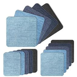 Iron on Denim Patches 15 Pcs Iron-on Repair Knee Patches Kit
