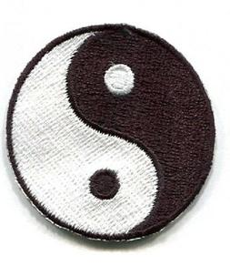 IRON ON PATCH YING YANG 1 X 1  inch