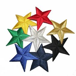 Iron on Star Patches, Multiple Sizes, Colors, & Multi-Pack O