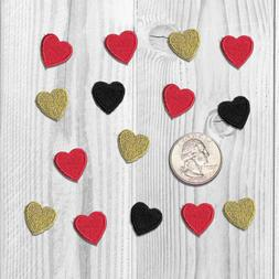 Iron On Tiny Heart Patches - Red, Black, & Gold Heart Appliq