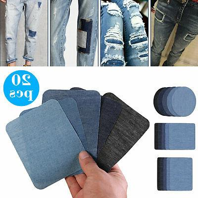 20pcs diy iron on denim fabric patches