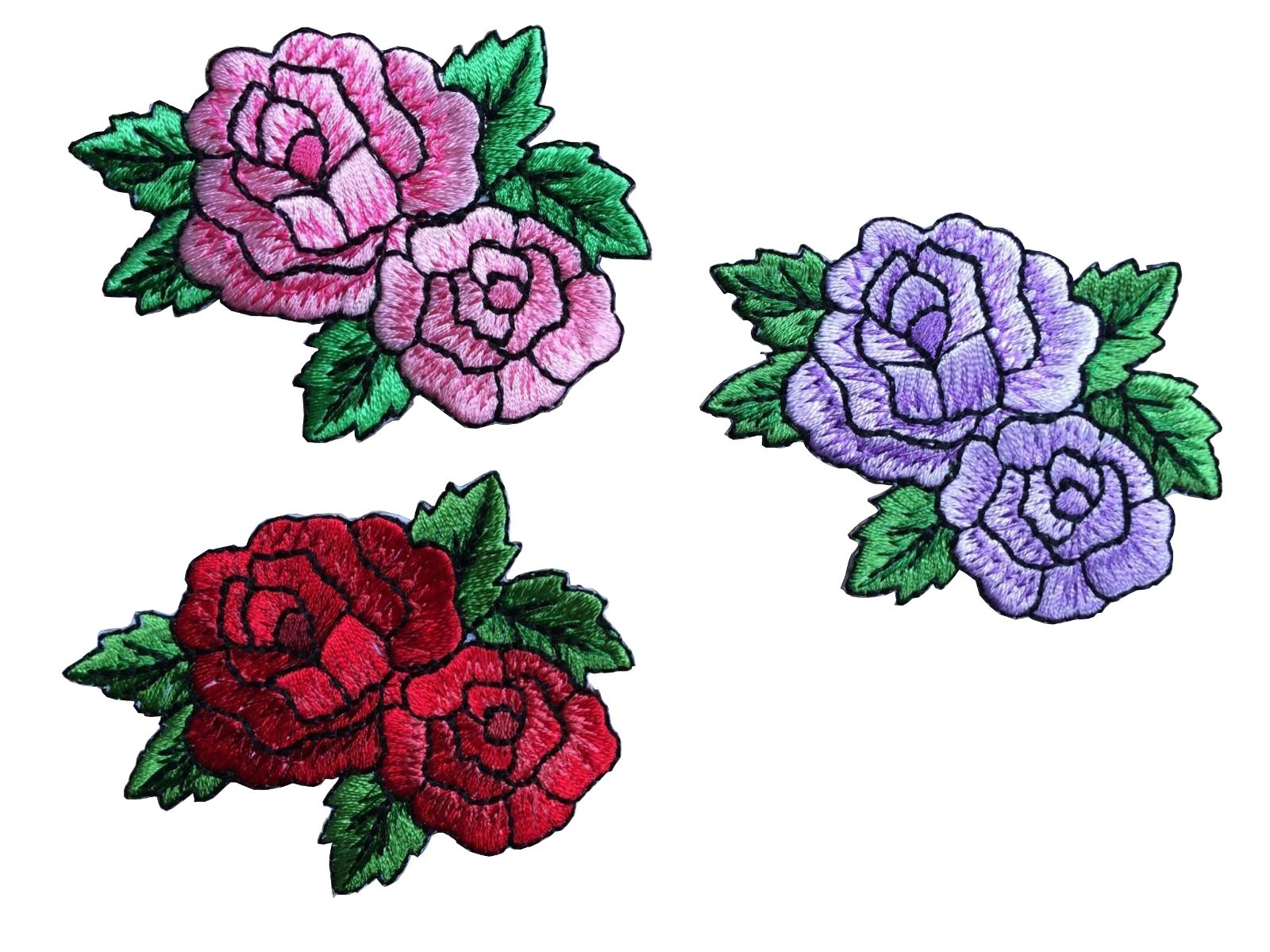 #3716 Purple Pink Red Rose Flower Embroidery Iron On Appliqu