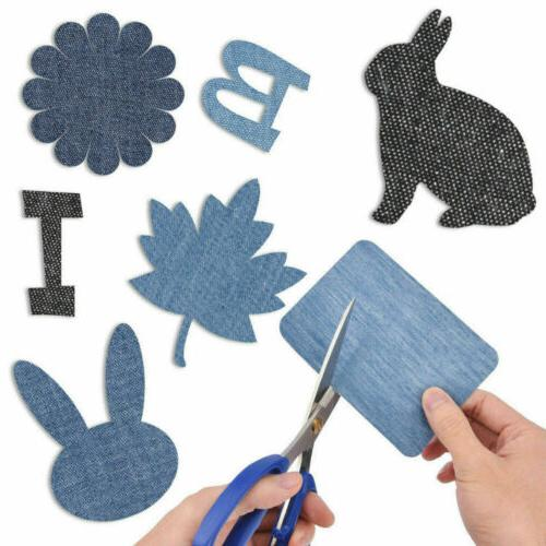 5 Colors Iron on Denim Fabric Patches for Jeans Kit(20pcs )