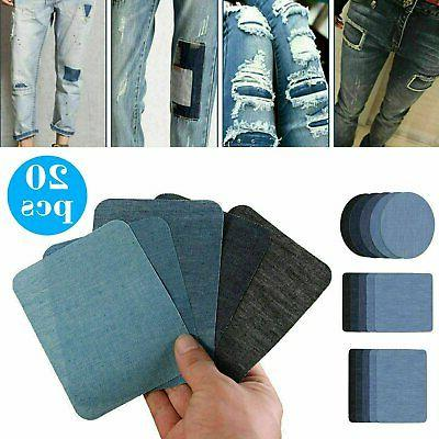 5 colors iron on denim fabric patches