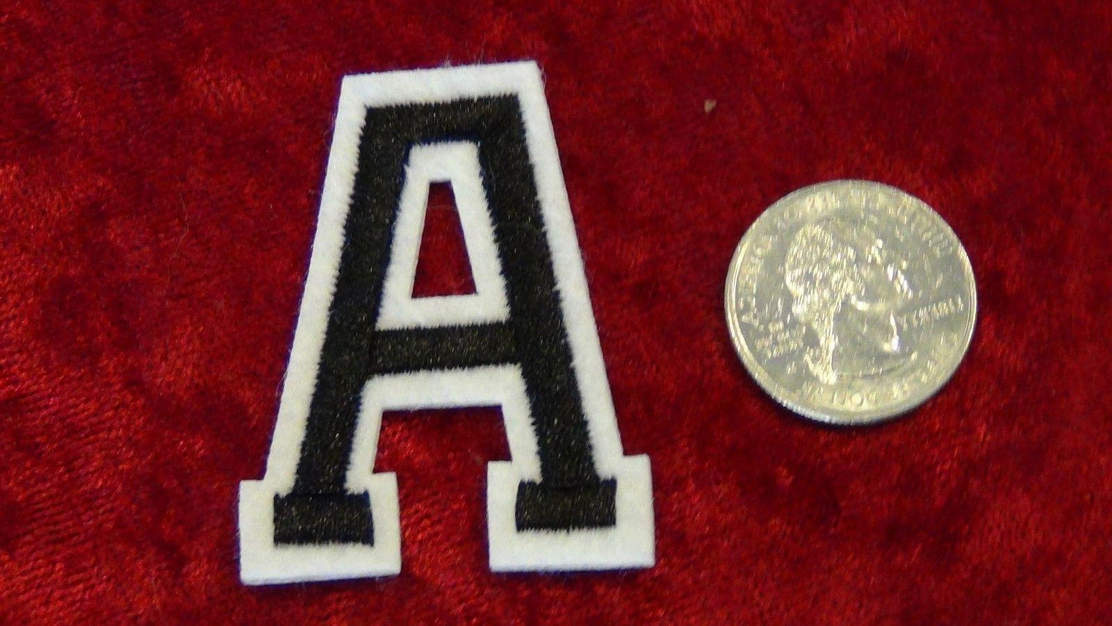 Alphabet letters numbers patch Varsity 2 inch CAPS black whi
