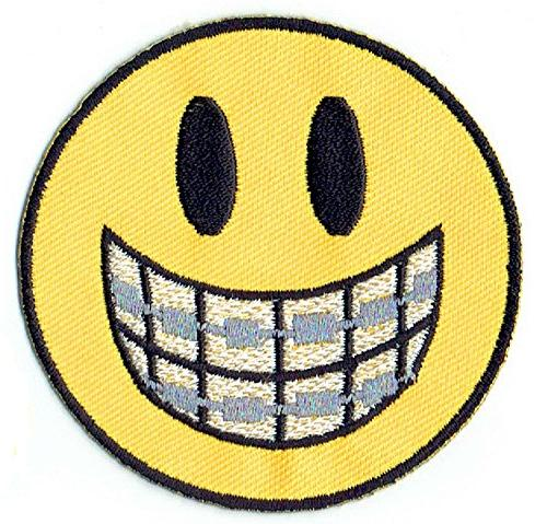 """""""DENTAL SMILEY"""" embroidered iron on PATCHES cap, T-Shirt, jeans, backpack with FREE gift by PATCH CUBE"""