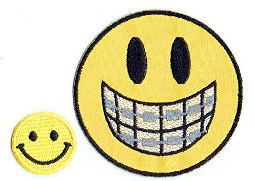 applique embroidered iron smile patches