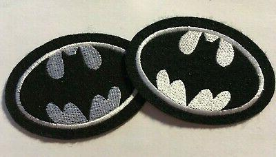 "Batman patch 3.5"" wide heat seal iron-on backing black felt"