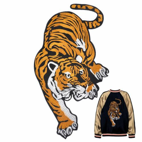 Big Tiger Embroidered Badge Applique Sew Iron on Cloth Jeans