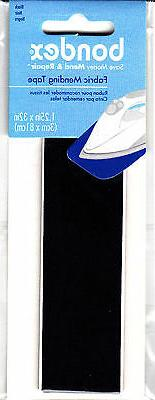 "BONDEX BLACK FABRIC 1 1/4"" X 32"" IRON ON MENDING TAPE - Clot"