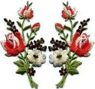Black & red roses pair flowers embroidered appliques iron-on