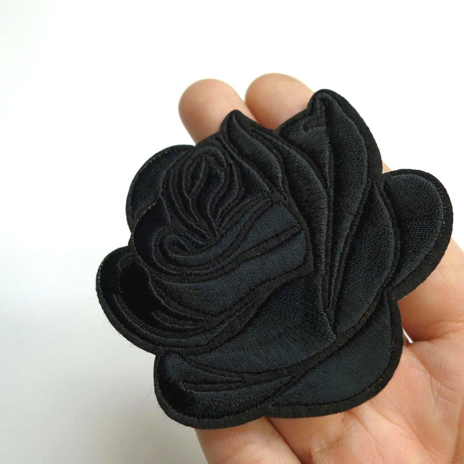 black rose iron on sew on embroidered