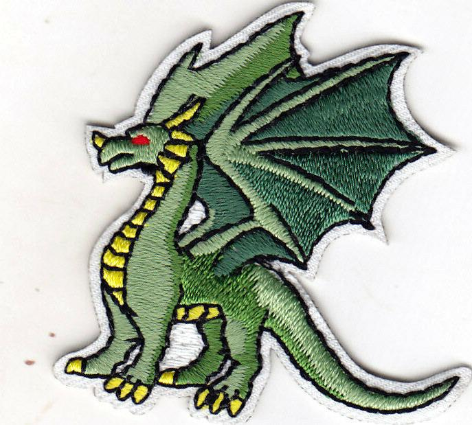 DRAGON GREEN Iron On Patch Legendary Animal Fantasy Mythical