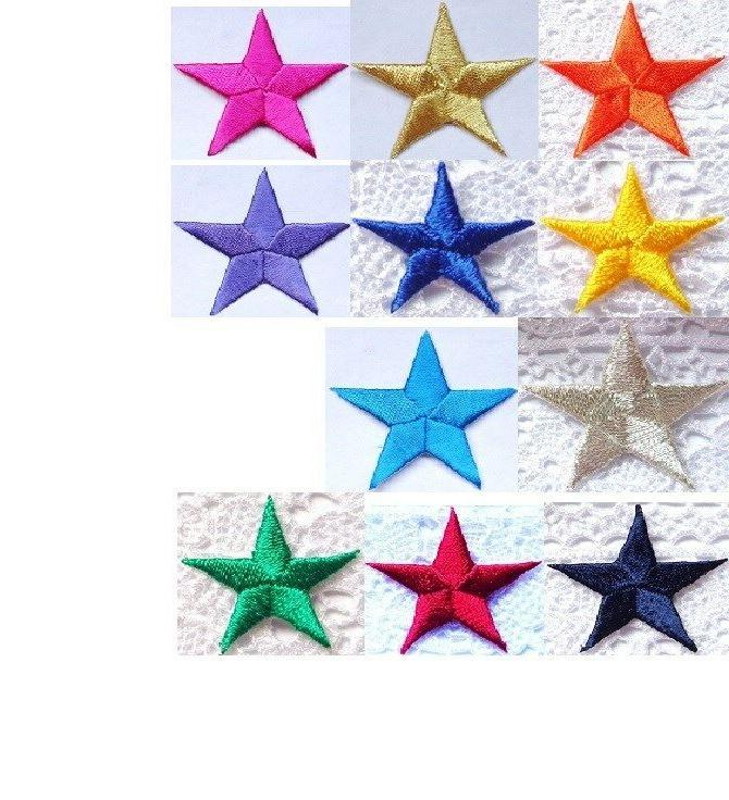 embroidered iron on applique star select size