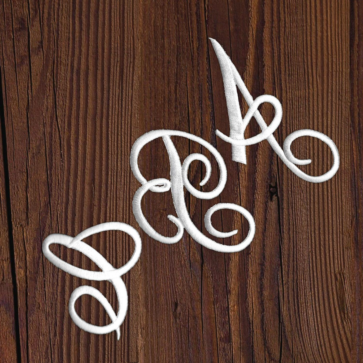 Iron On Script Letter Patches, Embroidered Monogram Letters,