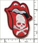 20 Pcs Embroidered Iron on patches Rolling Tongue Skull 5x6.