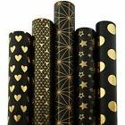 RUSPEPA Gift Wrapping Paper Roll-Black and Gold Foil Pattern