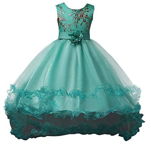 girls embroidery trailing princess party dresses fashion