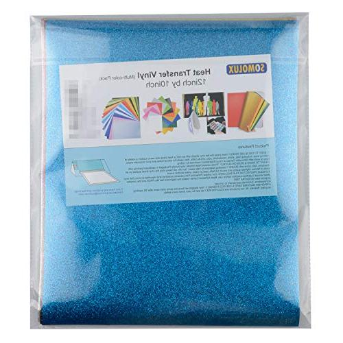 Glitter Iron Heat Transfer Vinyl 12 Sheets by SOMOLUX Heat Vinyl 12 & Weed for