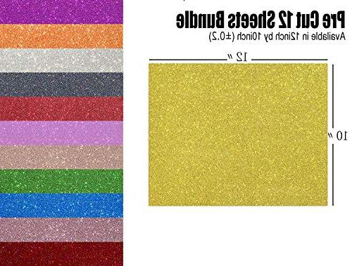 Glitter Iron on Heat Vinyl 12 Sheets SOMOLUX Glitter Bundle Kit of Heat Press Vinyl 12 Colors Cut & Weed for