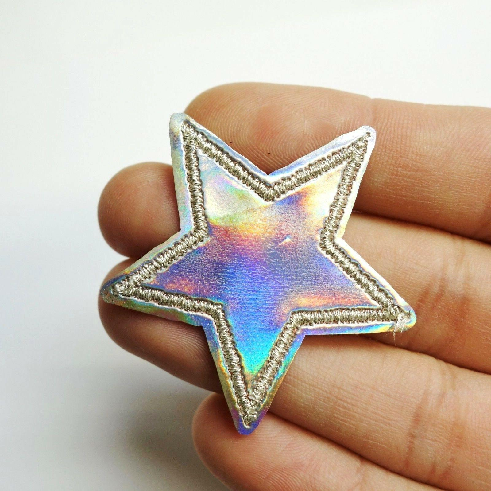 holographic silver star iridescent iron on sew