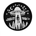 """I WANT TO LEAVE IRON ON PATCH 3"""" Flying UFO Alien Abduction"""