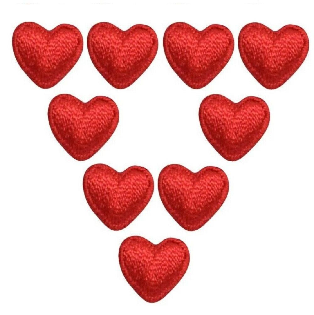 mini red heart applique patch 9 pack