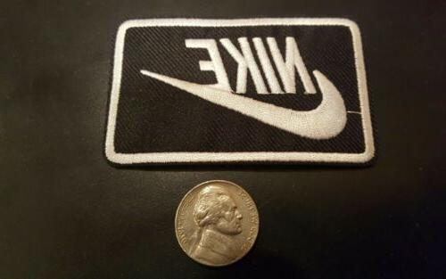 Nike Black iron on Patch - patches new Appx x 2""