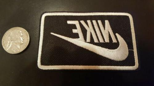 nike black and white iron on patch