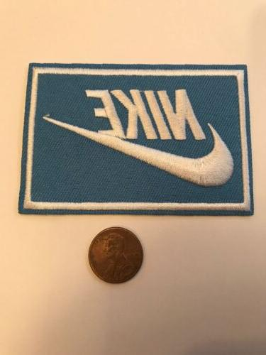 nike blue iron on patch patches new
