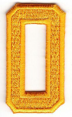 """NUMBERS- Golden Yellow Number """"0""""  - Iron On Embroidered App"""