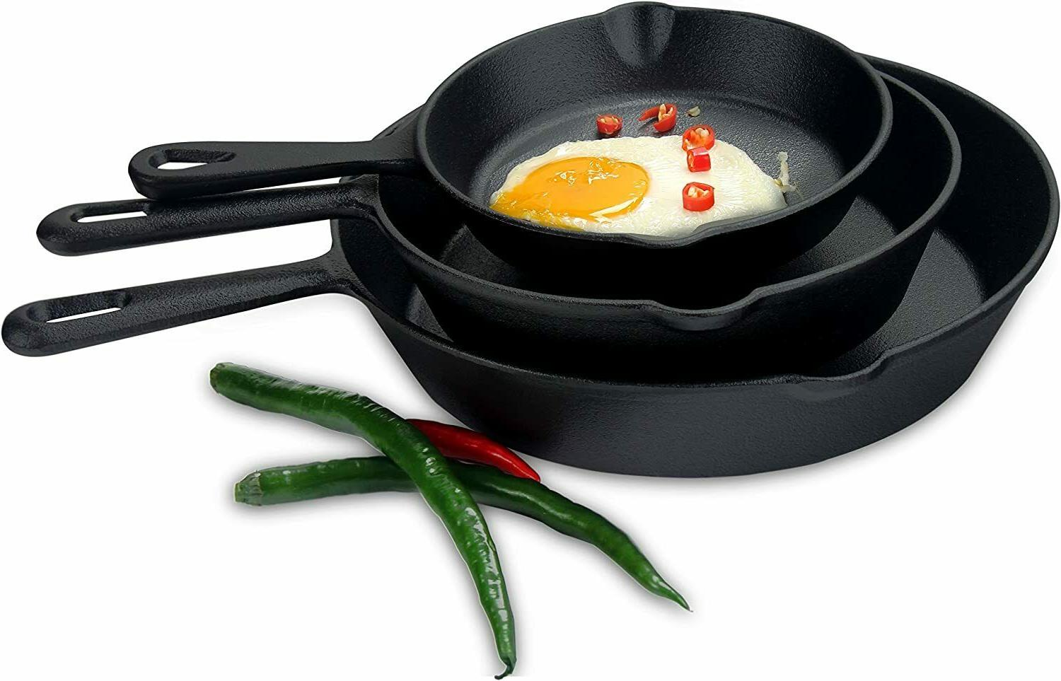 Pre Seasoned Cast Skillet Fry Pan Set Set