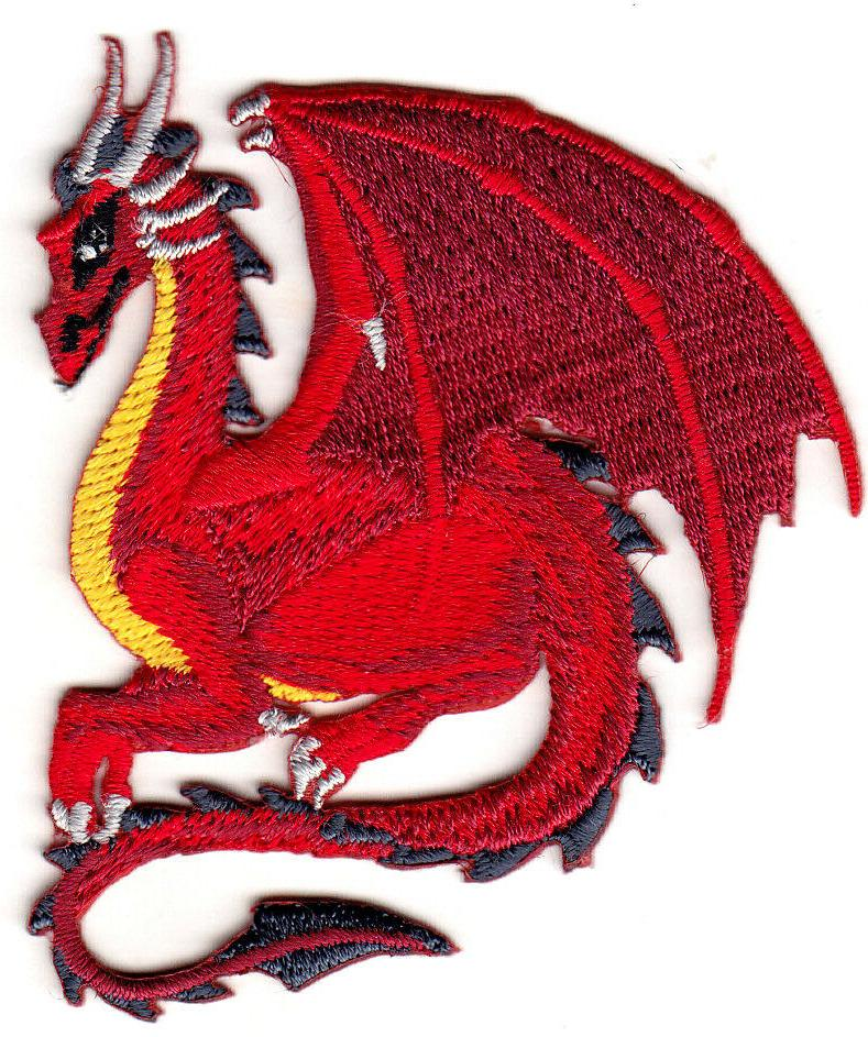RED DRAGON Iron On Patch Fantasy Legendary Animal Mythical